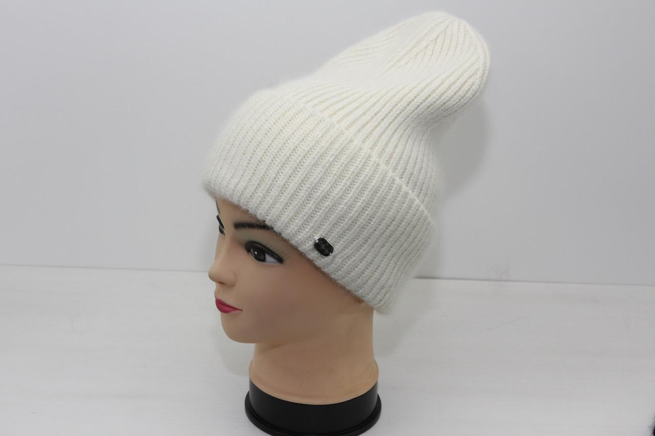 Женская вязаная шапка белого цвета (19494)