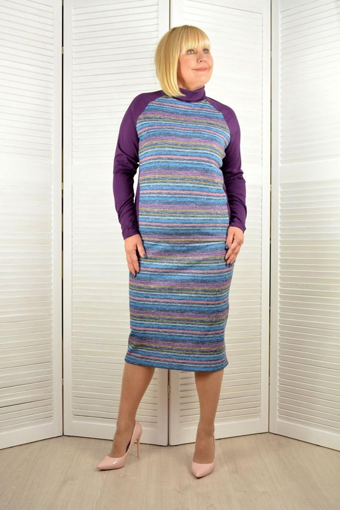 Костюм голубой трикотажный  - Модель Л286-3э  ( 50,52 размеры )