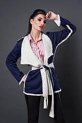 Молодежная куртка-кардиган на запах, внутри мех, верхняя ткань трикотаж, под пояс, р.40 синий (254)