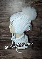 Комплект для девочки (шапка и хомут) Размер 44-46 см Возраст 7-12 месяцев, фото 3