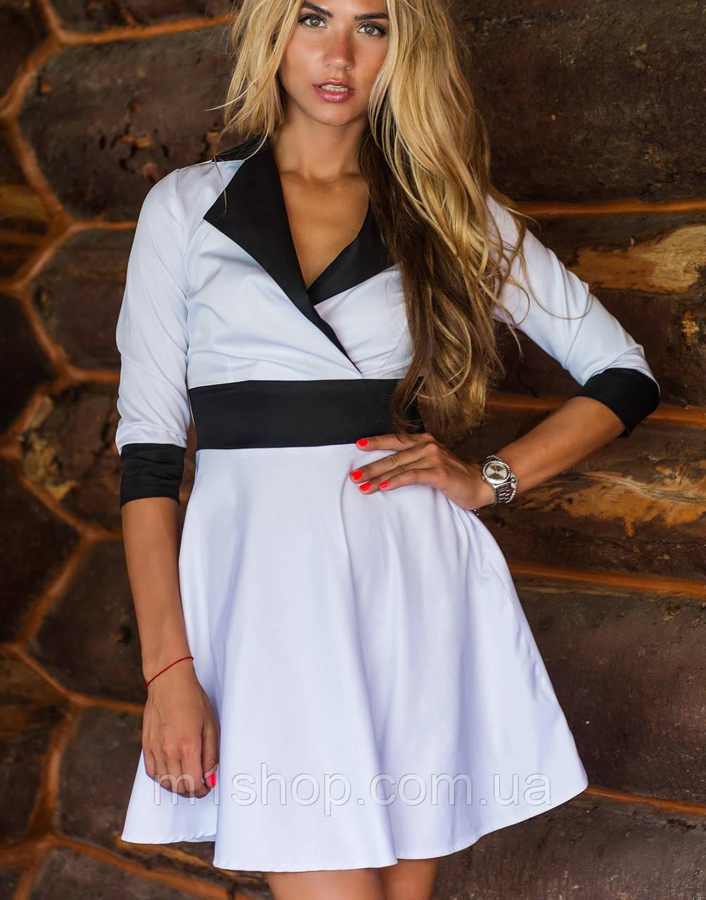 Расклешенное женское платье с контрастным кантом ( 2073 sk)