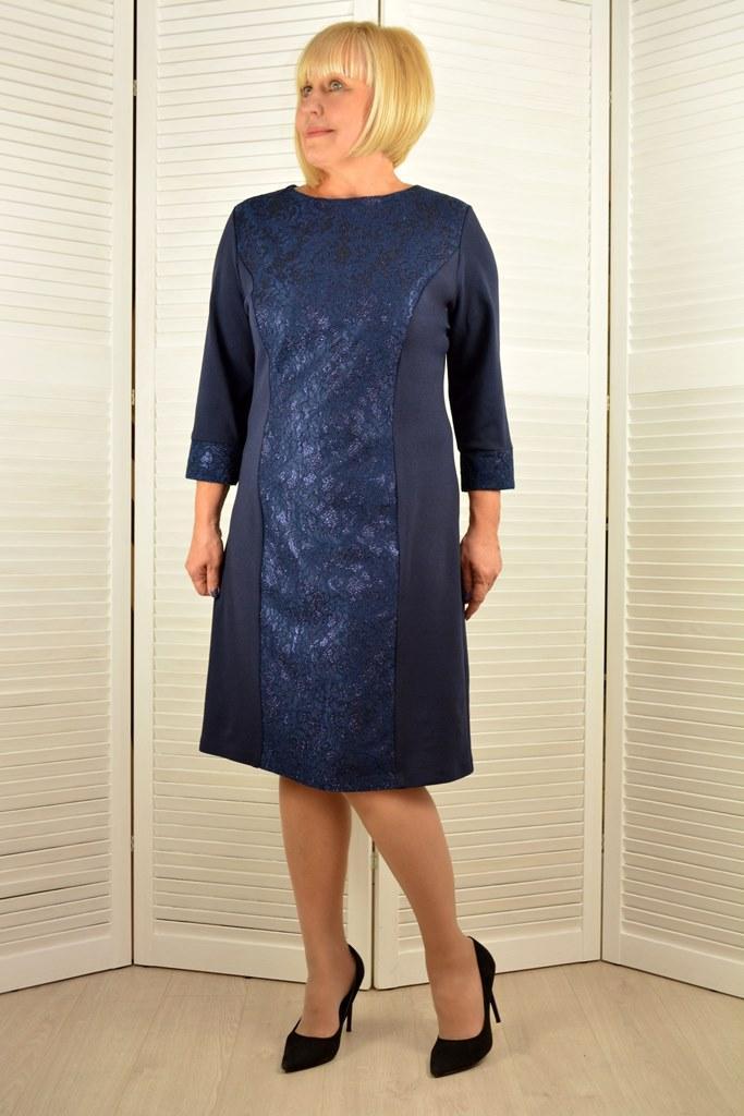 Платье темно-синее А-силуэт - Модель Л287э ( 52,54 размеры )