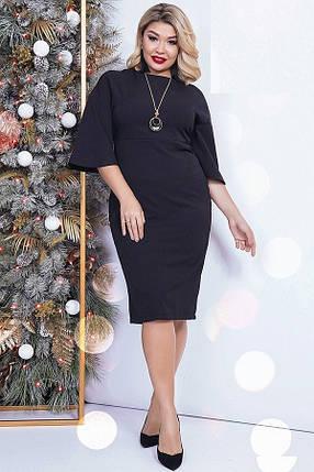 Платье женское миди с широкими рукавами, черное. Размеры: 48, 50, 52, 54, фото 2