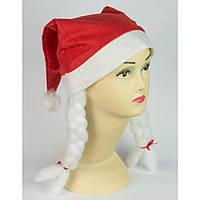 Шапка снегурочки красная с косичками, новогодний колпак