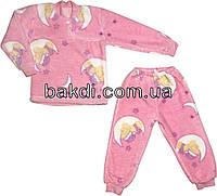 Детская тёплая пижама рост 110 (4 года-5 лет) махра розовый на девочку для детей Р-841