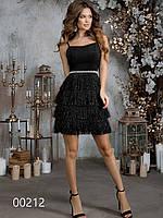 Новогоднее коктейльное платье с бахромой и люрексом, 00212 (Черный), Размер 42 (S)