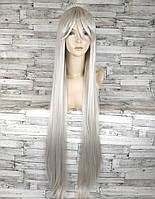 Парик женский ровный аниме 100см серый светлый 1м длинный