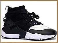Зимние мужские термо ботинки Nike Huarache Gripp Black White (найк хуарачи грипп, черные) термоутеплитель