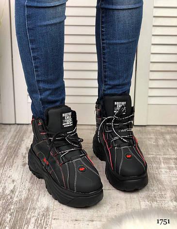 """Ботинки женские зимние, черного цвета из эко кожи """"1751"""". Черевики жіночі. Ботинки теплые, фото 2"""