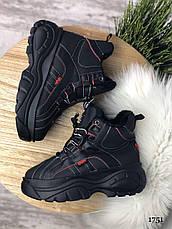 """Ботинки женские зимние, черного цвета из эко кожи """"1751"""". Черевики жіночі. Ботинки теплые, фото 3"""