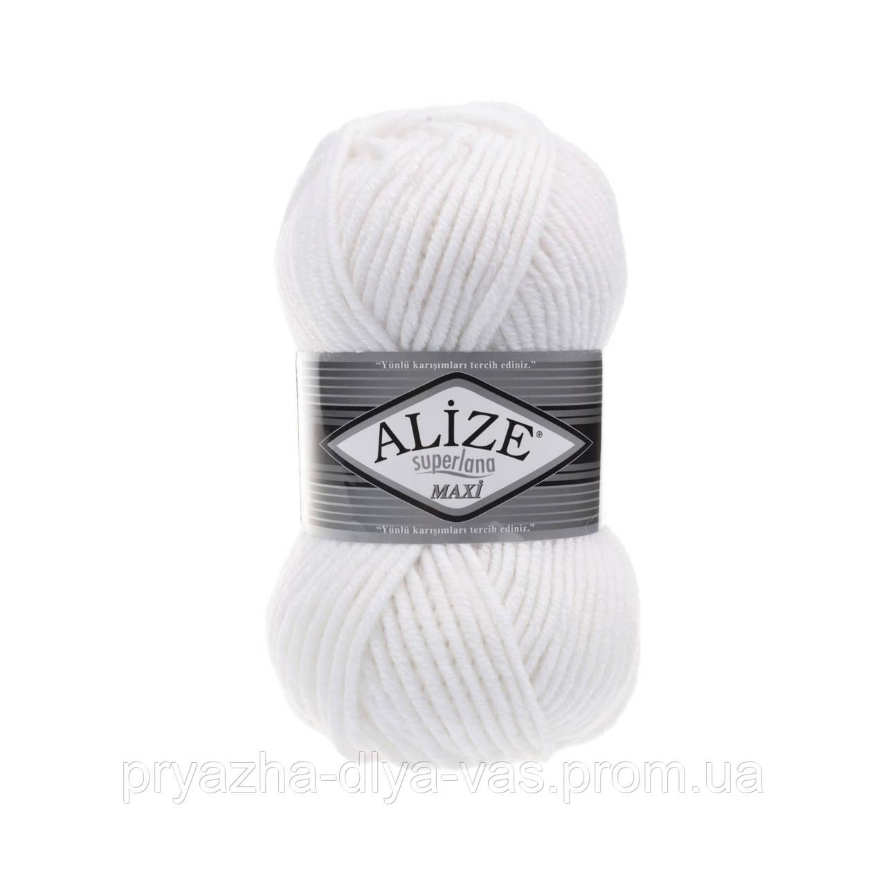 Зимняя пряжа (25% шерсть, 75% акрил; 100г/100м) Alize Superlana MAXI 55 (белый)