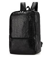 Рюкзак мужской / женский городской кожаный FSVECAN  (черный)