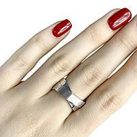 Стильное серебряное женское кольцо без камней 17.5 размер Италия