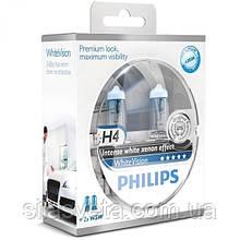 "Автомобильные лампы ""PHILIPS""(H4)(White Vision)(4300K)(+60%)(12V)(60/55W)"