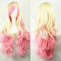 Парик женский косплей блонд + розовый волнистый аниме