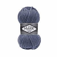 Зимняя пряжа (25% шерсть, 75% акрил; 100г/100м) Alize Superlana MAXI 381 (джинс)