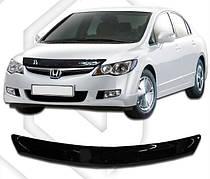 Дефлектор капота  Honda Civic с 2006 седан, Мухобойка Honda Civic