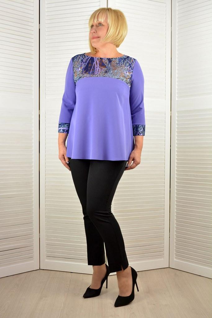 Блузон фиолетовое с кружевом - Модель Л397-э ( 52,54 размеры )