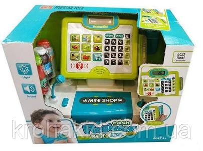 """Детский игровой набор кассовый аппарат """"Касса"""" 35558 A - микрофон, сканер, продукты, звук, свет"""