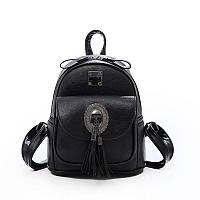 Рюкзак женский для девушек из экокожи с брошкой и кисточками (черный)