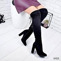 Женские демисезонные сапоги ботфорты на высоком устойчивом каблуке черные замшевые