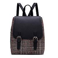 Рюкзак городской женский в шотландском стиле (черный)