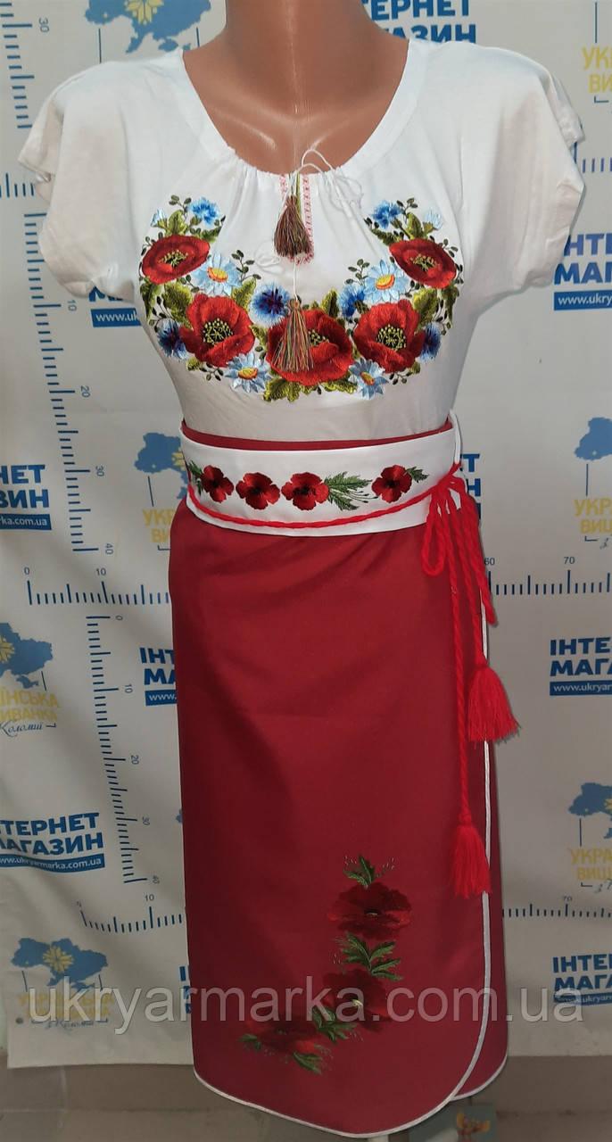 """Український національний костюм з вишивкою """"Літній з маками"""""""
