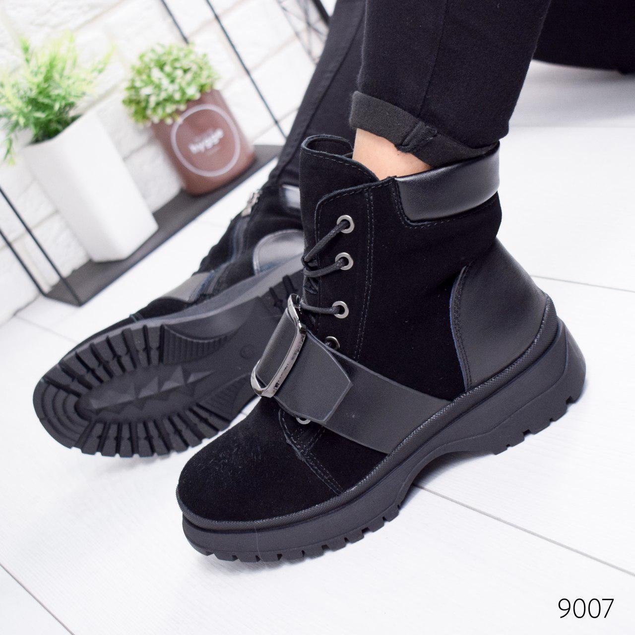 """Ботинки женские зимние, черного цвета из натуральной замши """"9007"""". Черевики жіночі. Ботинки теплые"""