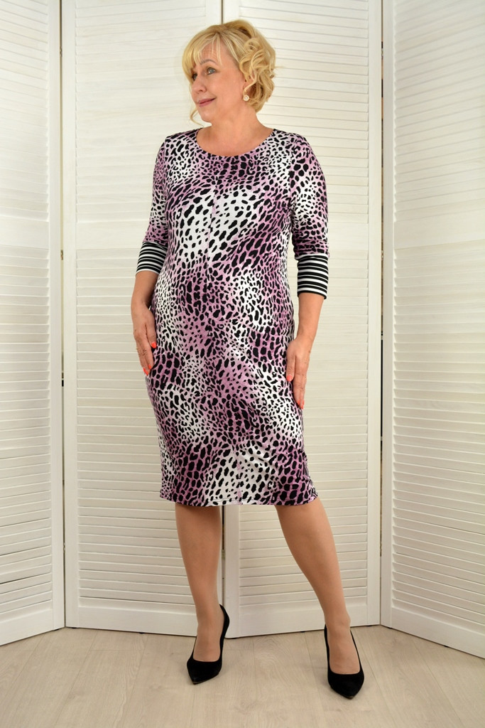 Платье леопард - Модель Л492-12 ( 52,54 размеры )