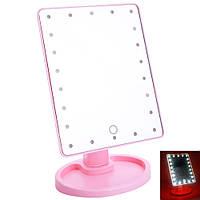 Зеркало для макияжа с подсветкой Large LED Mirror 22 LED Pink сенсорная регулировка Розовое