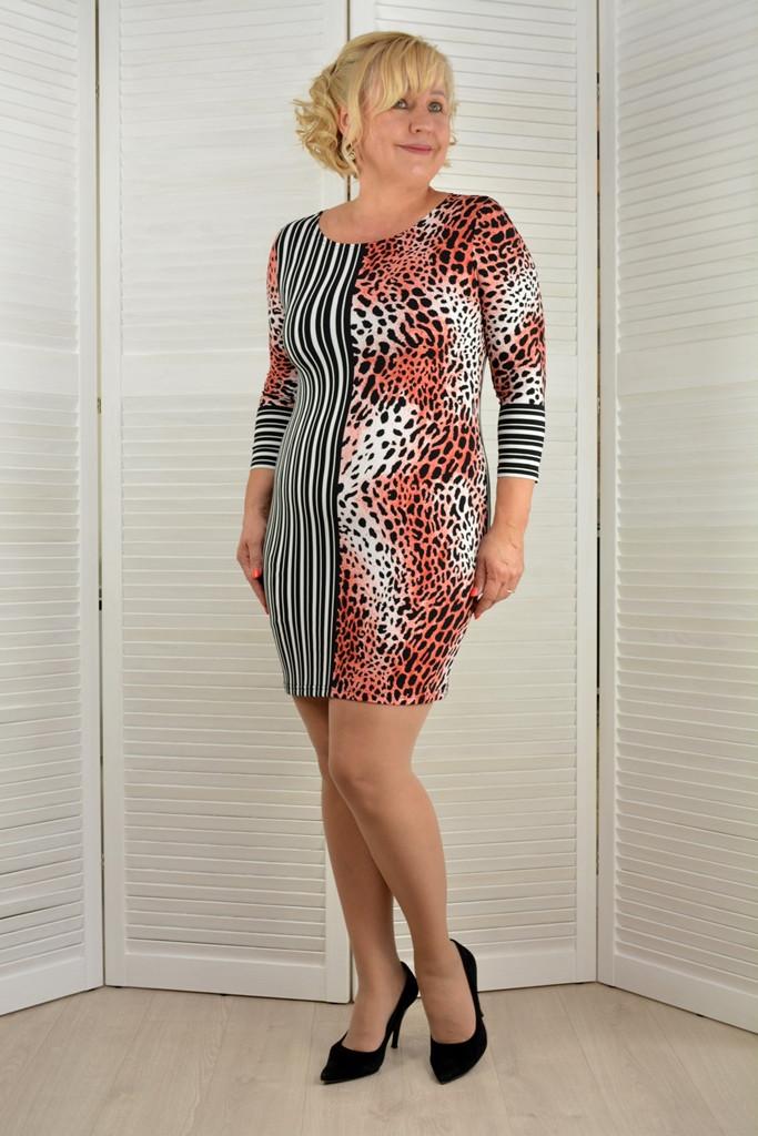 Платье-туника леопард и полоска - Модель Л492-15 ( 50,52 размеры )