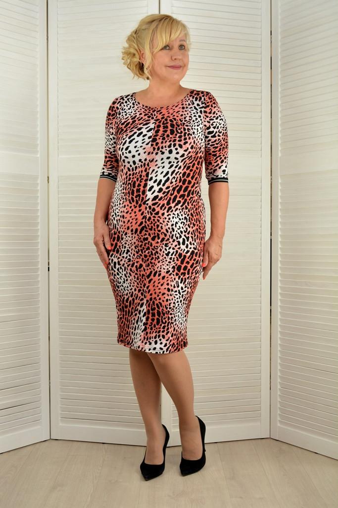 Платье леопард - Модель Л492-16 ( 50,52 размеры )