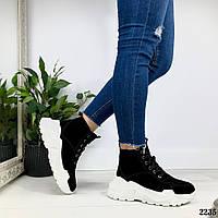 Зимние ботинки на белой подошве натуральная замша, фото 1