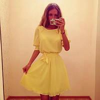 Платье шифоновое с рукавом до локтя на манжете