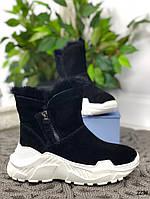 Зимние ботинки с опушкой на белой подошве натуральная замша, фото 1
