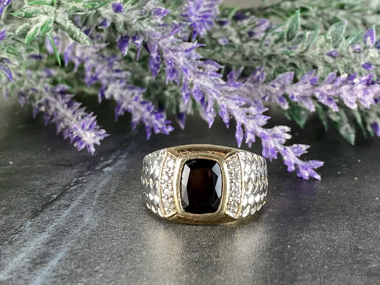 Мужское Серебряное Кольцо 925 проба с Черным Нефритом и Фианитами