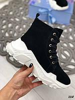 Зимние ботинки на шнуровке на белой подошве натуральная замша, фото 1