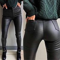 Женские утепленные брюки / кожзам на флисе / Украина 13-232, фото 1