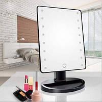 Настольное зеркало для макияжа с LED подсветкой 22 светодиода Black Черное