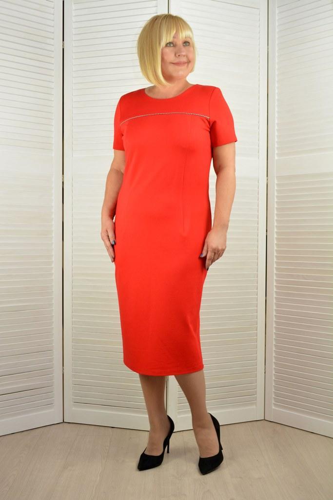 Платье красное к/р - Модель Л510п ( 50,52 размеры )