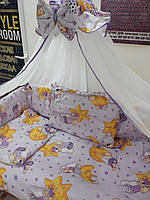 Детское постельное бельё 9 в 1 Мишки горох фиолетовое
