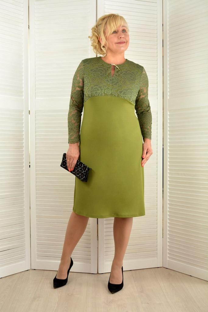 Платье оливковое с кружевом - Модель Л544-2 ( 48,50,52,54,56 размеры )