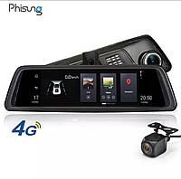 Регистратор зеркало Phisung V9, видеорегистратор зеркало с навигатором, зеркало с камерой заднего вида, 2/32GB