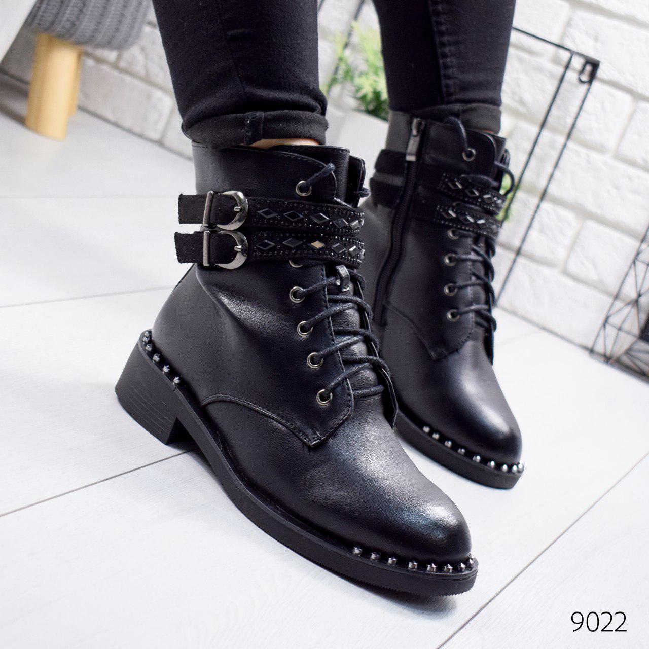 """Ботинки женские зимние, черного цвета из эко кожи """"9022"""". Черевики жіночі. Ботинки теплые"""
