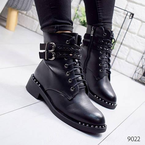 """Ботинки женские зимние, черного цвета из эко кожи """"9022"""". Черевики жіночі. Ботинки теплые, фото 2"""