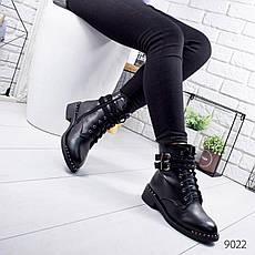 """Ботинки женские зимние, черного цвета из эко кожи """"9022"""". Черевики жіночі. Ботинки теплые, фото 3"""