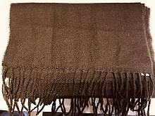 Кашемировый коричневый однотонный шарф