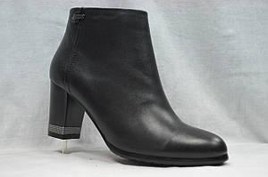 Черные кожаные  ботинки MALROSTTI с металлическими вставками на каблуке