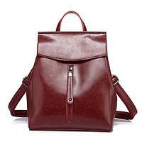 Рюкзак сумка трансформер женский кожаный с клапаном и вертикальным карманом (бордовый)