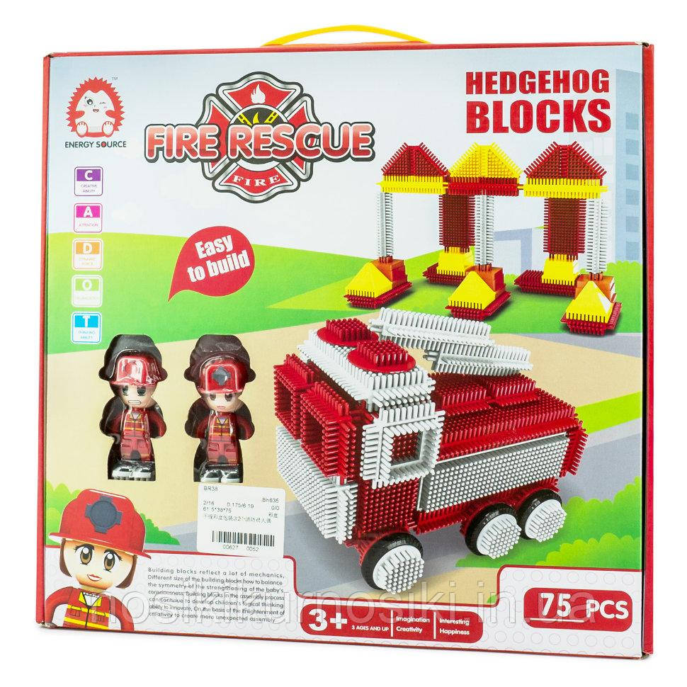 Конструктор голчастий брістл Hedgehog blocks 75 деталей Bristle Blocks Пожежні рятувальники